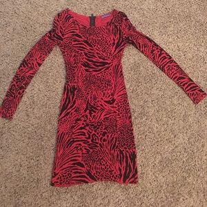 Alice + Olivia tiger/leopard red dress size S